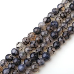 Wholesale Making Textures - Wholesale Natural Stone Beads Jewelry Making Black White Texture Agate Chalcedony loose Beads Diy Bracelet Necklace 6 8 10 12mm