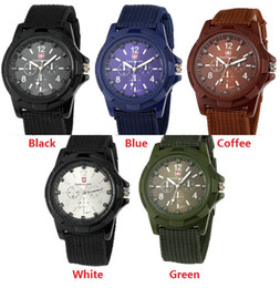 Wholesale Cool Mens Glasses - fashion mens nylon fabric Military Sports Gemius ARMY Watch casual men quartz wrist watch cool style Analog wristwatch