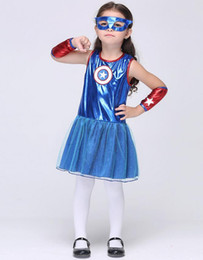 Wholesale Halloween Costume Captain America - Halloween Super Hero Captain America cosplay Girl Dress blue sleeveless dress gloves Eye mask Children's costumes stage clothing