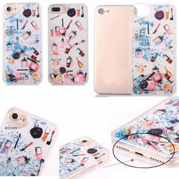 Wholesale Soft Cosmetic Cases - NEW Fashion Quicksand Glitter Stars Bling Cosmetics Cases Soft Frame PC Back Cover Case for iPhone 7 6 6S Plus