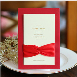 Wholesale New Styles Wedding Invitations - Creative Wedding Invitations Cards Red Folded Ribbon European Style Blank inner page Invitations Cards Business Invitations