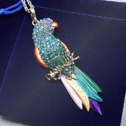 Wholesale Parrot Chain - Wholesale-Vintage Long Jewelry Fashion Sweater Necklace 2016 Bird Exquisite Colourful Enamel Crystal Animal Parrot Pendant Necklaces Women