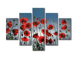 Wholesale Huge Decor Modern Abstract - Free Shipping ,Lots Wholesale ,wu665#,100% Handicrafts Modern Abstract 5 Panel Combination Huge Wall Decor Art Oil Painting On Canvas:FLOWER