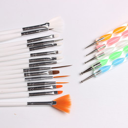 Wholesale gel polish nail art designs - 20pcs Nail Art Design Set Dotting Painting Drawing Polish Brush Pen Tools Nail Brushes for UV Nail Gel Polish Draw Pen Tools Drawing Brush