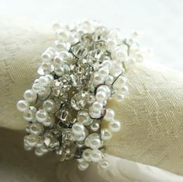 Wholesale Napkin Rings Pearls - Wholesale- silver pearl decoration napkin ring, napkin holder for wedding,24 pcs