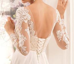 Gaine / colonne manches longues encolure plongeante lacent longue étage longueur robe de mariée en mousseline de soie avec de la dentelle ? partir de fabricateur