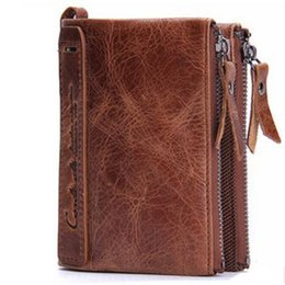 Wholesale Horse Coin Purse - Genuine Crazy Horse Cowhide Leather Men Wallet Short Coin Purse Small Vintage Wallet Brand High Quality Designer