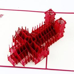 Детские открытки ручной работы онлайн-3D Pop Up Поздравительная открытка ручной работы Вестминстерское аббатство День рождения детей День отцов DHL