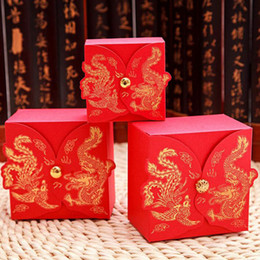 Wholesale dragon phoenix wedding - Wedding Favors Boxes Chinese Style Dragon Phoenix Candy Box Party Favors Paper Gift Boxes Chocolate Sugar Boxes ZA3238