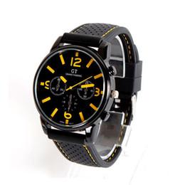 Wholesale Mm Racing - 100pcs lot Fashion Men's Women Unisex Watches GT Sport Racing Car Quartz Watch Military Army Quartz Silicone watches 7 colors