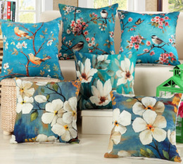 Wholesale Famous Flower Paintings - Wholesale- Decorative Cotton Pillows Cover Blue Famous Painting flower bird Pillows Cover 45X45cm Bed Home Throw Pillow Case Cover B105