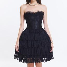 vestido corset de una pieza Rebajas 2017 Victorian New Halloween Dancing Parties Wedding Lace Overlay Contrast Ruffle Layered Ball Gown One Piece Lace up Bridal Corset Dress