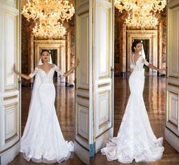 Wholesale Garden Wedding Short - 2017 Full Lace Mermaid Wedding Dresses Cheap Short Sleeves Sheer Neck Milla Nova Chapel Bridal Gowns For Garden Country with Beaded Sash