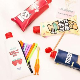 Wholesale Toothpaste Wholesale Supplies - Novelty Toothpaste PU Leather Pencil Case With Pencil Sharpener Stationery Storage Bag Escalar Papelaria Escolar School Supplies