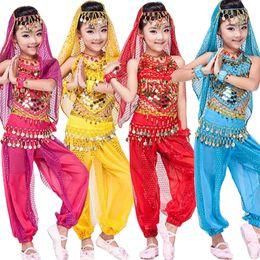 Wholesale Sequin Dance Tops Women - 4 pcs(top+Pants+belt+hand chain+) Children Belly Dance Costumes Kids Belly Dancing dress Girls Ballroom Performance dancewear