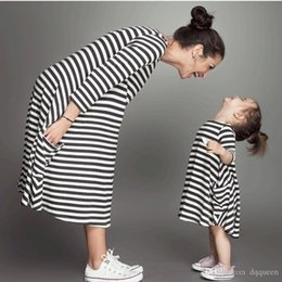 Wholesale Mommy Daughter Clothing - Summer New Mother Daughter Dress Matching Outfits Kids Clothing Stripe Sleeveless Casual Clothes Mommy and Me