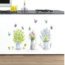 Wholesale Watering Pot Can Wholesale - Wall Stickers Butterfly Vase DIY Corridor Window Decoration Home Decor Potted Flower Sticker Can Be Removed Water Proof 3 8ch F R