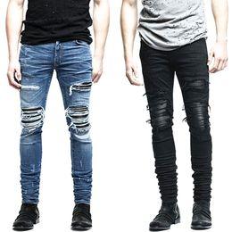 Wholesale Mens Biker Clothing - Wholesale- New Mens denim pants clothing zipper skinny biker jeans men slim fit justin bieber jean Vintage ripped blue denim men jeans man