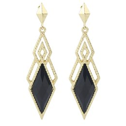Wholesale Rhombus Earrings - Gold-Color Alloy Colorful Rhombus Big Dangel Earrings For Women Maxyum Wholesale