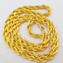 Wholesale French Diamonds - 22 Inch Yellow Gold Plated Cable French Rope Chain Necklace Men Women Unisex