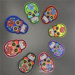 Wholesale Embroidery Garment - 50pcs lot Multi-Color Skull Embroidery Patch Appliques Iron On Patch For Cloth Bags Hat Sewing Notions Garment Accessory