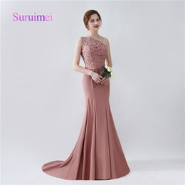 Wholesale Party Castles - Mermaid Bridesmaid Dresses Robe De Soiree One Shoulder Appliques Wedding Party Gowns Sashes Sweep Train Fast Shipping