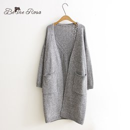 Wholesale Light Sweaters Women - Wholesale-BelineRosa Women's Plus Size Sweater Autumn Light Gray Hollow Hot Knitting Casual Cardigans for Women Fit L~4XL GT0010