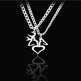 Wholesale Valentine Heart Designs - 2017 Valentine Day Newest Women Deer Heart Pendant Alloy Necklace Cute Design Link Chain Trendy Necklaces Jewelry top1572