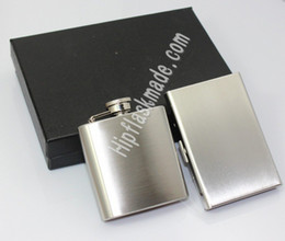 Wholesale flask holder - 3 oz hip flask with credit card holder in black gift box