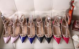 Wholesale Ladies Sandals Color Blue - Newest 2017 luxury brand design Patent Leather Women Sandals Slingback Pumps Two Ankle Buckles Ladies Sexy Flat Neon Color Dress 36-42