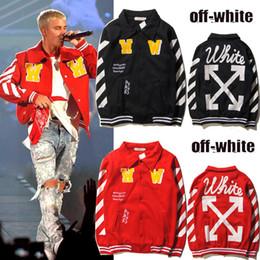 Wholesale Rap Hoodies - Justin Bieber Off White Baseball Jacket red Hoodies Fleece Sweater Autumn Winter Hip hop RAP Skateboard Kid Rapper Streetwear Harajuku