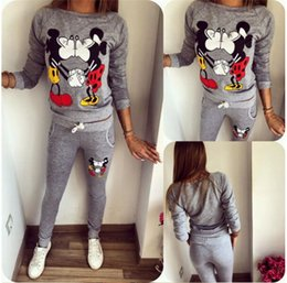 Wholesale Sweaters Cartoon Women - hot sell Women's Jersey Cartoon Printing Campaign Sweater Suits Long-Sleeved Casual Sportswear Sweater Suits Tops And Pants