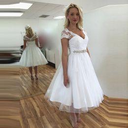 Wholesale Wedding Dresses Sashes Belts - Vintage Short Lace 50s Wedding Dresses Short Sleeve V Neck Beaded Belt A Line Tea Length Bridal Gowns Custom Size