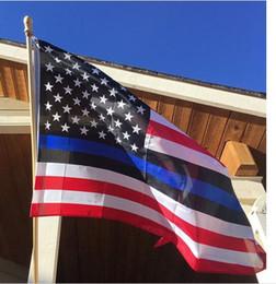 Banderas deportivas online-Bandera Eco-Friendly Thin Blue Line de Estados Unidos de América EE.UU. rayas de las estrellas de la bandera 150cm * 90cm * 3 5FT poliéster Banner Deportes Bandera