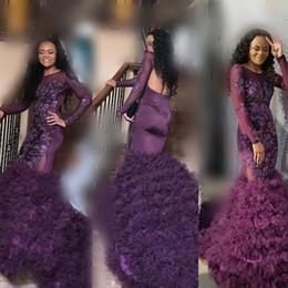 Vestidos de fiesta transparentes morados online-Sirena púrpura vestidos de fiesta 2k18 mangas largas transparentes apliques de encaje vestidos de noche sudafricana tren largo acanalado vestido de fiesta formal