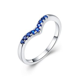 Wholesale Girls Sapphire Ring - Fashion Silver Plated Inlaid Blue CZ Rings Wholesale Sapphire Jewelry Women Girl Romantic Gifts Heart shaped Rings Imitation Diamond Jewelry