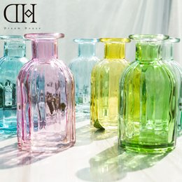 Wholesale Bottle Glass Flowers - DH simple colorful flower glass bottle home decoration Terrarium glass vase ornament DIY flower vase garden decoration