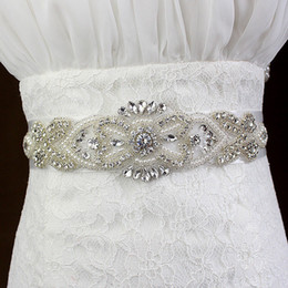 Wholesale Rhinestone Beaded Bridal Belts - 2017 Luxury Crystal Bridal Sashes Wedding Belt Rhinestone Pearl Beaded Cheap Free Shipping In Stock White Ivory Champagne
