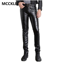 Wholesale leather pants zippers mens - Wholesale-Super Skinny Mens Faux Leather Pants PU Material Black Slim Fit Motorcycle Leather Trousers For Male P015