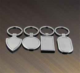 Wholesale Promotional Logo Gifts - 100pcs lot 4 Designs Newest Metal Blank Keychains Advertising Custom LOGO Keyrings for Promotional Gifts