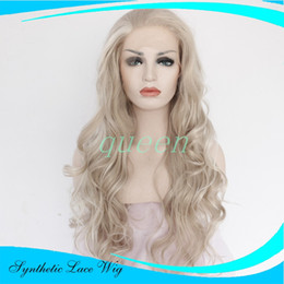 Wholesale Silver Curly Wig - Silver Grey Hair Long Curly Hairstyle White Gray Color perruque synthetic women Hair Body Deep Wave Synthetic Lace Front Wigs