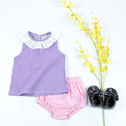 Wholesale Purple Plaid Skirt Girls - Girls Dresses Summer Princess Plaid Print Skirt Cape Collar Baby Clothes Fashion Kids Clothing Purple Children European Style Sweet