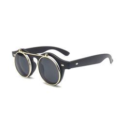 Wholesale Red Glass Rocks - New Brand Design Retro Steampunk punk rock flip Sunglasses Women Metal Renovate fashion Round sunglasses For Female Vintage Plain glasses