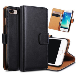 Wholesale Cover Iphone Cards - For iphone 7 6 Plus S8 Real Genuine Leather Wallet Credit Card Holder Stand Case Cover For 5 6S Samsung Galaxy S7 edge