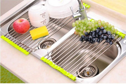 Wholesale Vegetable Drainer - Foldable 201 Stainless Steel House Dish Rack Cutlery Drainer Kitchen Sink Drying Holder for bowl fruit vegetable