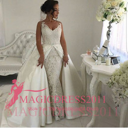 Wholesale Sheer Over Sequin Dress - 2017 Romantic Wedding Dresses with Over Skirts Sheer Straps V-Neck Heavily Embellished Court train Vintage Garden Beach Bridal Gowns