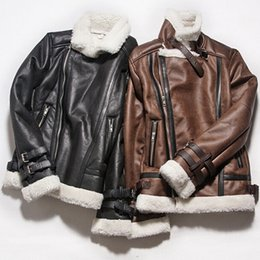 Wholesale Short Leather Lined Black Coat - Stand Collar Side Zipper Thick Warm Fleece Lined Flight Bomber Suede Jacket Men Faux Sheepskin Coat Winter Pilot Leather Jacket Black Brown