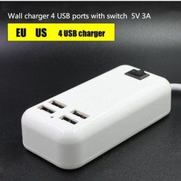 Wholesale Multiple Usb Charger Iphone - EU US 4 Ports Multiple Wall USB Charger 15W 3A Smart Adapter Mobile Phone Charging Data Device For iPhone iPad