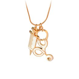 Wholesale Dr Charms - Gold Plated Doctor Who Injection Syringe Medical Stethoscope Pendants Necklaces Alloy Dr Who necklace for men movie Jewelry 161816