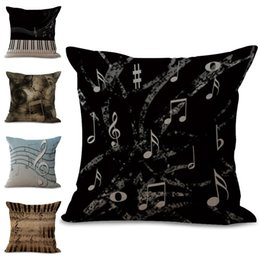 Wholesale Music Linen - Retro Music Note Throw Pillow Cases Cushion Cover Pillowcase Linen Cotton Square Pillow Case Pillow Slip Home Sofa Decor 240646